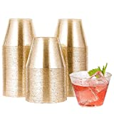 5 oz 100 Pack Small Glitter Disposable Cups, Glitter Plastic Cups, Disposable Plastic Shot Glasses for Parties, Plastic Cocktail Glasses, Wedding Tumblers,Perfect for Halloween Thanksgiving Christmas