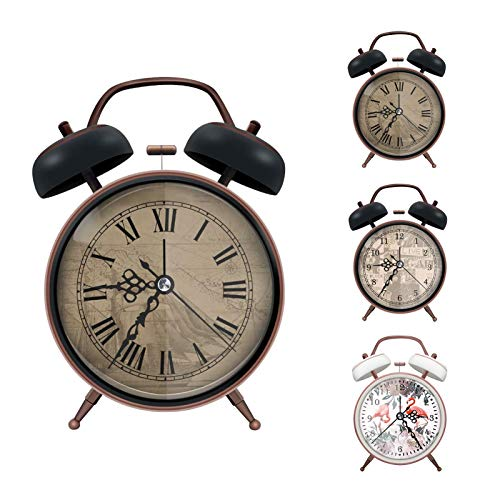 ERYTLLY Classical Twin Bell Alarm Clock for Bedroom with Stereoscopic Dial, Retro Vintage Analog...