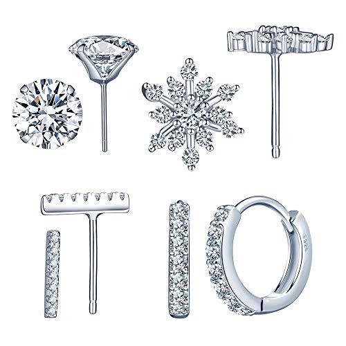 Yumilok-Juego de Joyas Pendientes de Plata de Ley 925 Pendientes de copo de nieve, aretes de diamante, pendientes de aro elegantes para Mujeres Chicas set de 4 pares