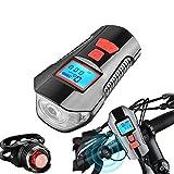 Bicicleta a Prueba De Agua USB Recargable Bicicleta Faro Faro LCD 14x11.5x4cm/ Botón Rojo con luz Trasera