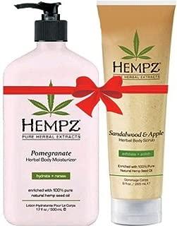 Hempz Pomegranate Herbal Body Moisturizer (17 Oz) and Sandalwood And Apple Herbal Body Scrub (9 Oz) Bundle