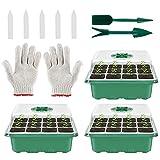 Bandejas Semilleros Germinacion Seedling Bandejas 12 Agujeros, Ajustable Kit de Inicio de Planta con Domo y Base Set de Cultivo de Invernadero para el Cultivo de Semillas (Traje)