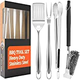 SHINESTAR Grill Tools, 18 Inch Extra Long Stainless Steel Grill Utensils Set, Heavy Duty 4 Pieces BBQ Tools Grilling Tools Set with Case - Grill Brush, Spatula, Fork, Tongs, for Outdoor Cooking
