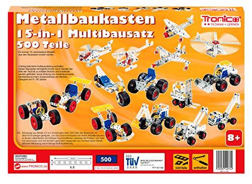 TRONICO Metallbaukasten 15 Modelle 15-in-1 Konstruktionsspielzeug Mint STEM Modellbau Bauen mit Werkzeug