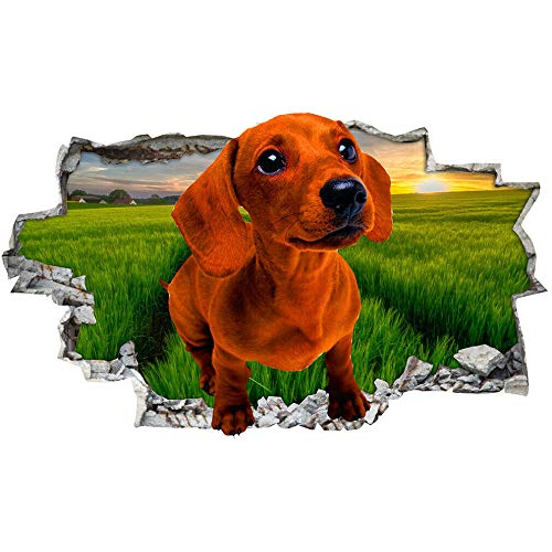 Perro hierba campo atardecer cielo pared arte pegatinas calcomanía vinilo habitación 3D arte mural calcomanía decoración del hogar 60x90cm