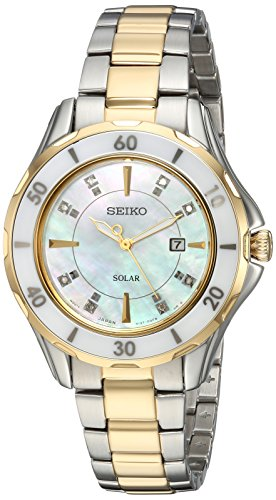 Seiko Women's Diamond Solar Stainless Steel Japanese-Quartz Watch with Two-Tone-Stainless-Steel Strap, 7 (Model: SUT338)