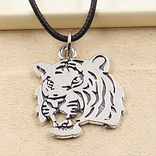 xtszlfj Tibetano Color Plata Colgante Tigre Cabeza Collar Gargantilla Encanto Negro Cuero Pulsera joyería Hecha a Mano