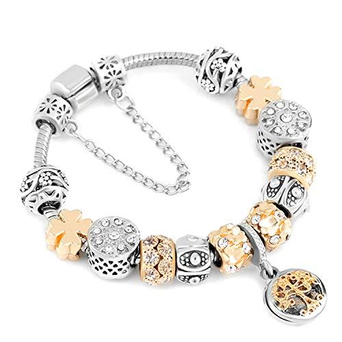 Pulsera Brazalete, Joyeria Regalo, Dropshipping Blue Crystal Charm Bracelet with Marano Beads Fits Original Brand Bracelet For Women Friendship Bracelet A1 21cm