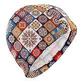 Tcerlcir Gorro Natación Estampado Floral Boho étnico Vintage Gorro de Piscina para Hombre y Mujer Hecho de Silicona Ideal para Pelo Largo y Corto