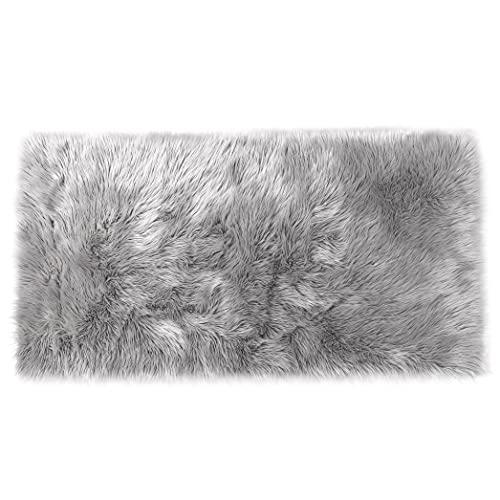 Lammfell-Teppich Kunstfell Schaffell Imitat | Wohnzimmer Schlafzimmer Kinderzimmer | Als Faux Bett-Vorleger oder Matte für Stuhl Sofa (Grau - 80 x 150 cm)