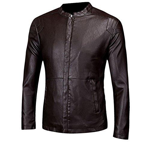 LISUEYNE Herren Lederjacke Mens PU Leder Jacken BiSHE Slim Smart Fit Fleece Harrington Jacke Mantel,Kaffee02,L