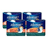 Always Ultra Thin, Size 4, Overnight Pads with Wings, Unscented, 14 Count, Pack of 4