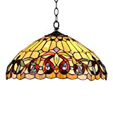 Capulina Tiffany Dining Table Lights, 18 Inch Wide Hanging Tiffany Style Lamp, 2-Light Stained Glass Lighting Fixtures, Stained Glass Dining Room Lights, Victorian Tiffany Pendant Lights