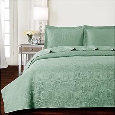 Mellanni Bedspread Coverlet Set Olive-Green - BEST QUALITY Comforter Oversized 3-Piece Quilt Set (Full / Queen, Olive Green)