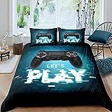 Teens Games - Juego de ropa de cama, funda nórdica de 155 x 220 cm, para niños, niñas, jóvenes, dormitorios modernos, juegos de realidad virtual, cubierta de triángulo geométrico, color azul y negro