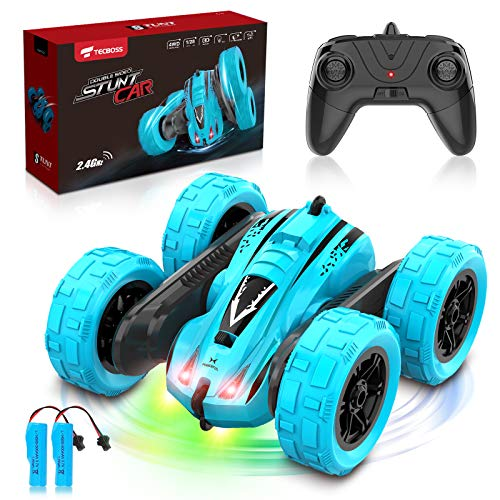 TECBOSS Remote Control Car, 360° Spin Flip 2 Sided Running RC Stunt Car 10 MPH 2.4 Ghz 4WD All Terrain Off Road RC Car Toys for 6 7 8 9 10 11 12 Year Old Boys