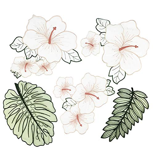 discountstore145 5Pcs Flower Leaf Lace Embroidered Iron on Patch for Clothes Applique Sticker Decor