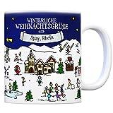 trendaffe - Spay Rhein Weihnachten Kaffeebecher mit winterlichen Weihnachtsgrüßen - Tasse, Weihnachtsmarkt, Weihnachten, Rentier, Geschenkidee, Geschenk