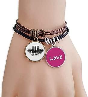 Singapore Lankmark Ink City Painting Love Bracelet Leather Rope Wristband Couple Set