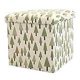 Puf Floding Pie Ottomans Puf, Taburete de reposo de pies de cubo con almacenamiento, taburete de reposapiés de lino de algodón portátil, reposapiés para sala de estar ( Color : Small , Size : Tree )
