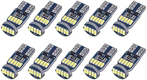 SanGlory 10 x T10 W5W LED Canbus Bombillas, 15 SMD 4014 LED T10 Bombilla...