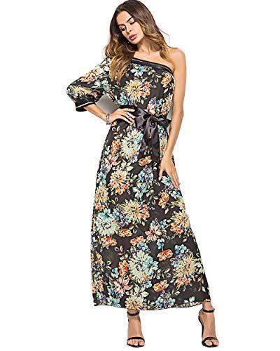 wengshilin Dames zomer Boheemse vintage jachtstijl Lange maxi een schouder gebloemde jurk