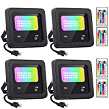 RGBW LED Flood Lights with Remote Control, 4 Pack 15W IP66 Waterproof Dimmable Led Landscape Lighting, 16 Colors 4 Modes Indoor Outdoor Wall Washer Spot Light for Building Garden Stage Light