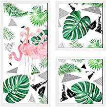 Painting Mantra Flamingo Painting for Wall Decoration Set of 3 Wall Paintings (1 Unit 22 X 47 cm, 2 Units 22 X 22 cm) White