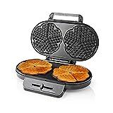 WeiX Gofreras eléctricas,sandwichera,máquina de gofres con Forma de corazón Doble con Placas antiadherentes, Temperatura Ajustable, para Desayuno/Almuerzo/Cena
