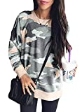 Sidefeel Women Long Sleeve Crewneck Pullover Camo Print Sweatshirt Jumper Top Medium Khaki