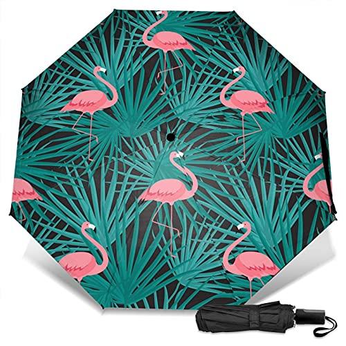LYYNBLA FlamingoCompact Manual Open/CloseTrifold Travel Anti-Uv, a prueba de viento al aire libre sombrilla paraguas lluvia y sol, Impresión exterior, Taille unique