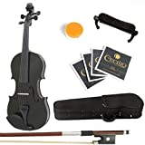 Mendini Solid Wood Violin with Hard Case, Bow, Rosin and Extra Strings (4/4, Black)