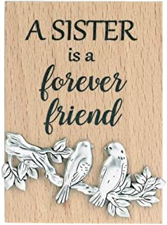 Ganz ER62375 A Sister is a Forever Friend Magnet Plaque, 2-inch Height, Brown and Silver