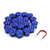 uxcell 20pcs 19mm Deep Blue Plastic Car Wheel Lug Bolt Nut Cover Cap with Removal Tool