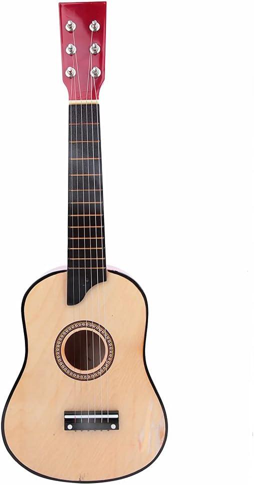 Guitarra de 25 pulgadas, alta calidad portátil de madera clásica guitarra niños regalo de juguete seguro con bolsa de concierto para principiantes para jugar (madera)