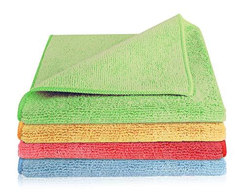 Home-Tex Premium Mikrofaser-Putztuch |Extra Saugstark 300 g/m² | Hochwertiges Microfaser Reinigungstuch für Auto und Haushalt (40 x 40 cm | 4er Set, Bunt)