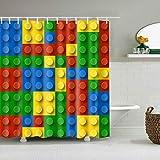 ZHANGSHUQI Gelb rot blau grün Lego blocksbadezimmer duschvorhang langlebig Stoff mehltau badzubehör kreativ mit 12 Haken 180X180CM