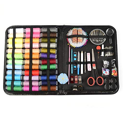 RecoverLOVE 184Pcs Sewing Kit Repair Set, Premium DIY Sewing Supplies, Portable Sewing Accessories with Black Carrying Case for Adults, Kids, Beginner