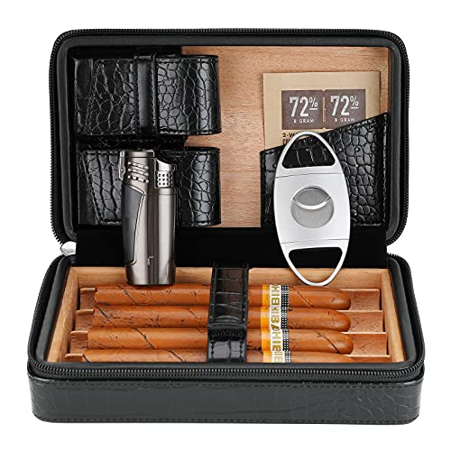 CiTree Cigar Case, Cedar Wood Travel Portable Leather Cigar Humidor with Cigar Lighter and Cutter, Black Crocodile Pattern