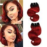 FASHION LINE 8' Human Hair Bundles Ombre Two Tone Brazilian Virgin Hair Extensions Body Wave (4 bundles, 1b/red)