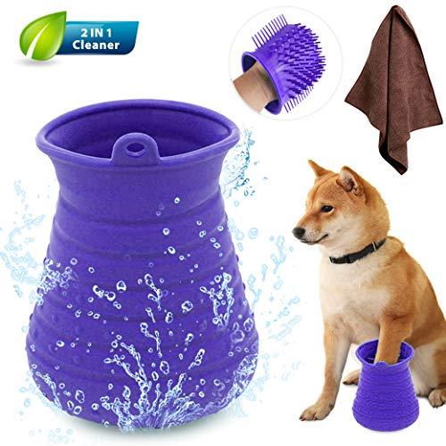 Idepet Limpiador de Huellas para Perros,Perros Lavadora Portatil,Cepillo De Limpieza para Mascotas...