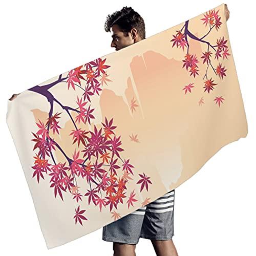 WellWellWell Japón cerezo flor ciruela Sakura Blumenberg toalla de playa rectangular toalla para yoga toalla hombre mujer blanco 150 x 75 cm