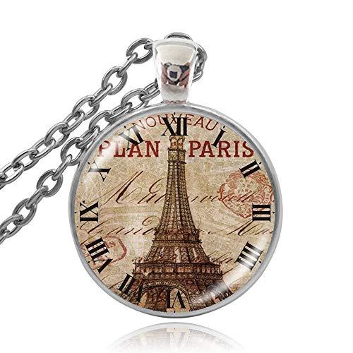 SWAOOS Reloj De Bolsillo De París Vintage, Collar con Dijes, Colgante De...