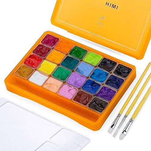 HIMI Gouache Farbset, 24 Farben x 30 ml Einzigartiges Jelly Cup Design mit 3 Pinseln in Einer Tragetasche Perfekt für Künstler, Studenten, Gouache Opaque Aquarell (Orange)