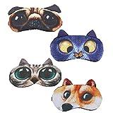 Hycles Funny Sleep Mask for Kids Women Men Soft Eye Cover Blindfold Mask Cute Animal Cartoon Cat Dog Sleep Eye Mask for Sleeping 4 Pack