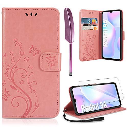 AROYI Lederhülle Xiaomi Redmi 9A Hülle + HD Schutzfolie, Xiaomi Redmi 9A Flip Wallet Handyhülle PU Leder Tasche Hülle Kartensteckplätzen Schutzhülle für Xiaomi Redmi 9A Rosa