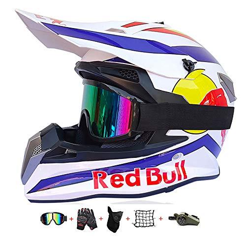 Casco Moto niño,Casco Motocross niño Moto Set con Gafas/Máscara/Guantes Casco Motocross (6unidades) Apto para Cuatro Estaciones (53-54CM)