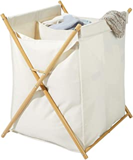 mDesign panier à linge pliable – corbeille à linge transportable à deux compartiments pour salle de bain – bac à linge en ...