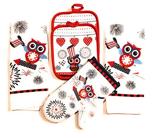 Mainstay 5 Piece Kitchen Towel Set (Owl and Fireworks)