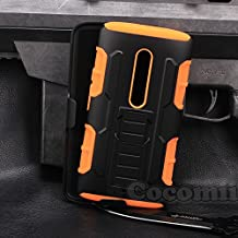 Cocomii Robot Armor Compatible for Motorola Droid Maxx 2/Moto X Play Case New [Heavy Duty] Premium Belt Clip Holster Kickstand Shockproof Bumper [Military Defender] Full Body Rugged Cover (R.Orange)